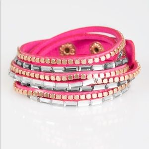 This Time With Attitude - Pink Snap Bracelet